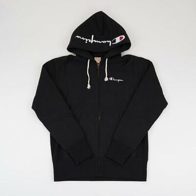 Champion Reverse Weave Full Zip Up Script Logo Hoodie CEM579 Black 2019