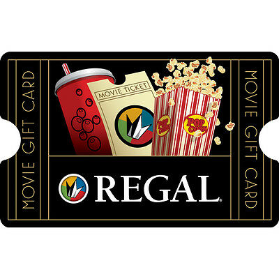 10    25 Regal Entertainment Physical Gift Card   1St Class Mail Delivery