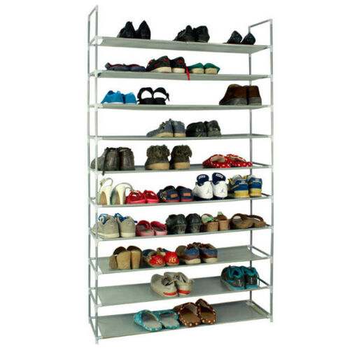 10 Layers Shoe Rack 50 Pair Wall Bench Shelf Closet Organizer Storage Box Stand