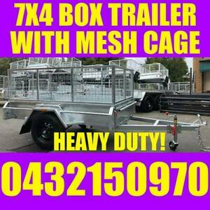 7x4 fully galvanised box trailer with mesh cage