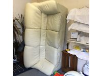Cream leather 3 seater settee