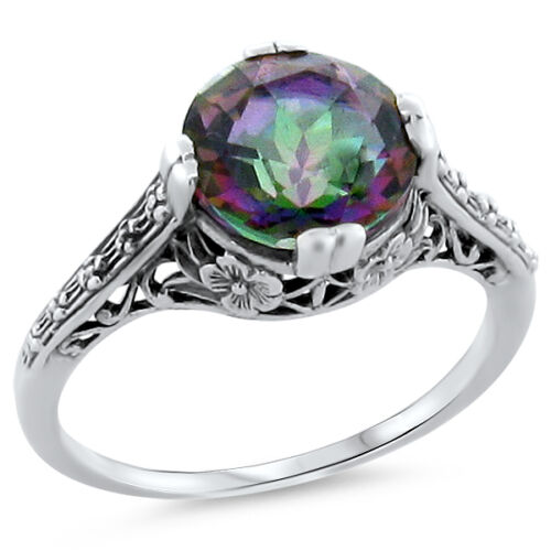 MYSTIC RAINBOW QUARTZ .925 STERLING SILVER ANTIQUE STYLE SOLITAIRE RING,    #182
