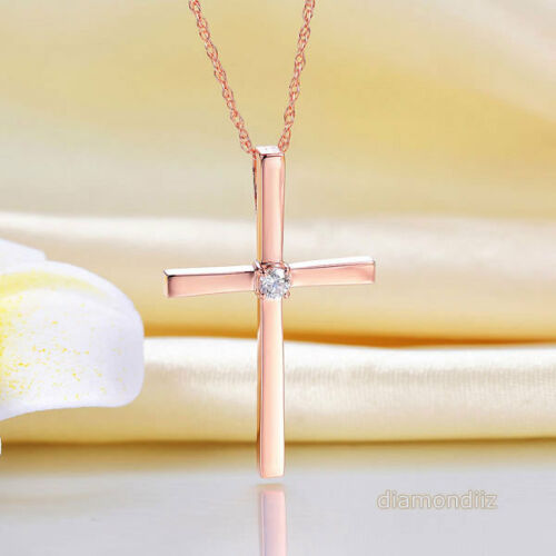 0.08ct Round Diamond 14K Rose Gold Infinite Faith Cross Pendant Necklace