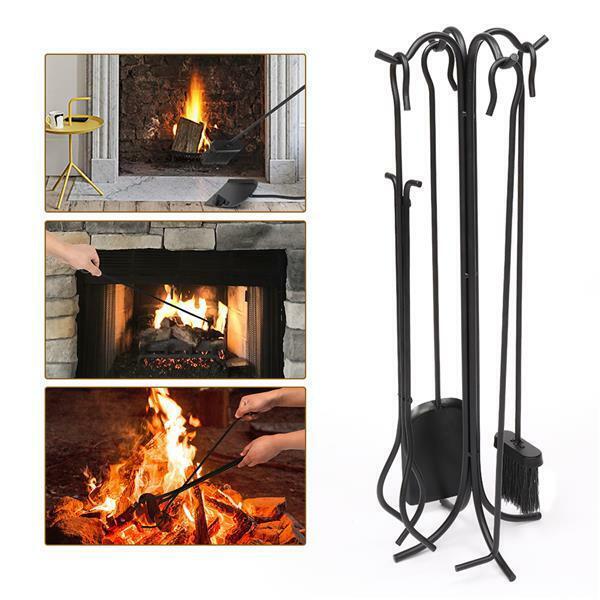 Iron Fireplace 5-In-1 Stove Tool Set Hook Bracket