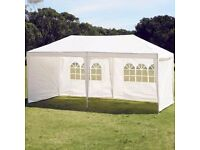 BRAND NEW in unopened box. White 3 metre x 6 metre marquee gazebo. Outdoor party garden awning