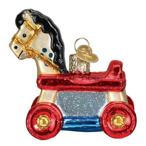 Old World Christmas ROLLING HORSE TOY (44131)N Glass Ornament w/ OWC Box