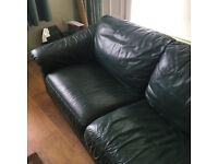 Green leather 3 seater and chair