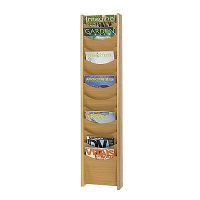 NEW Wooden Safco 12 Pocket Wall Medium Oak Magazine Rack ()