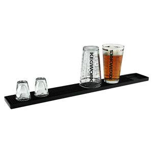Rubber Bar Service Spill Mat Black Holds Glassware Pub