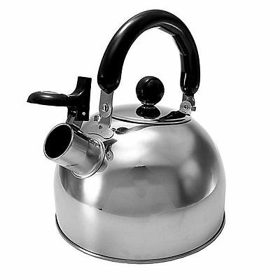 NEW Stainless Steel Whistling Tea Kettle Water Pot Heat Boiler Handle 1.3-Quart