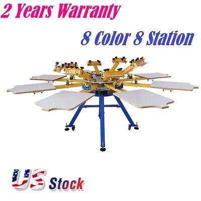 Us Stock 8 Color 8 Station Silk Screen Printing Equipment T-shirt Screen Press