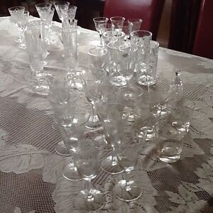 Crystal and cornflower glasses