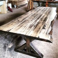Reclaimed wood harvest and dining tables