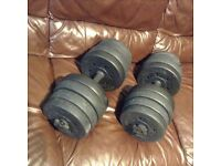 34kg of weights with two bars and 4 spinlocks