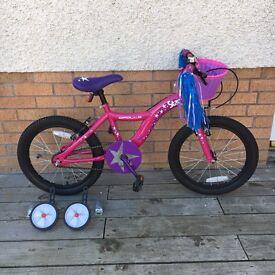 """Girls 18"""" bike with stabilisers"""