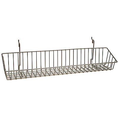 New Powder Coat Chrome Wire Basket Fits Slatwallgridpegboard 23w X 4d X 3h