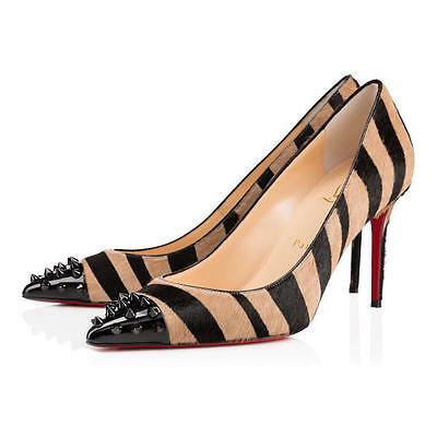 100% AUTH NEW WOMEN LOUBOUTIN GEO PONY PIKAO PATENT TOE PUMP/HEEL US 9.5