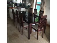 Walnut Glass Dining Table and 8 chairs