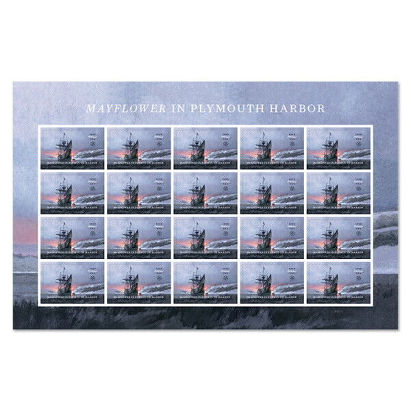 USPS New Mayflower in Plymouth Harbor Pane of 20