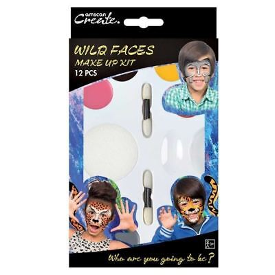 Halloween Wild Faces Zoo Animals Tiger Leopard Elephant Face Paint Make Up Kit