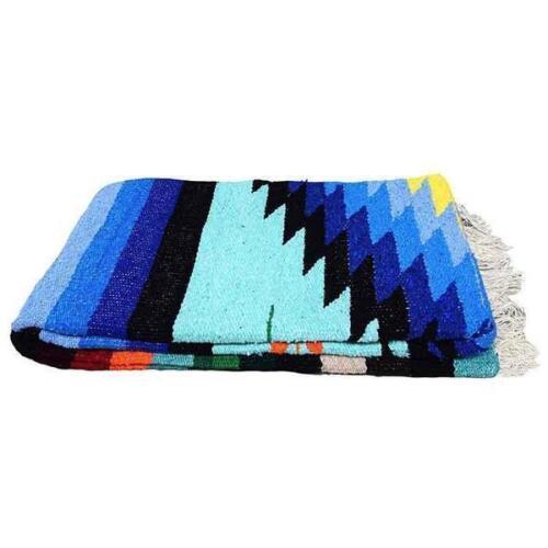 Mint Mexican Blanket Vintage Style Native Diamond Serape Saltillo Falsa  X Large