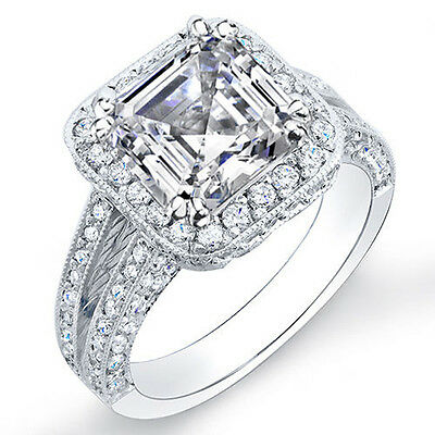 2.10 Ct. Asscher Cut Pave Diamond Halo Double Shank Engagement Ring F,IF GIA 14K