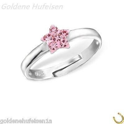 Rosa Kristall Stern Ring 925 Echt Silber Kinder Geschenkidee z-181