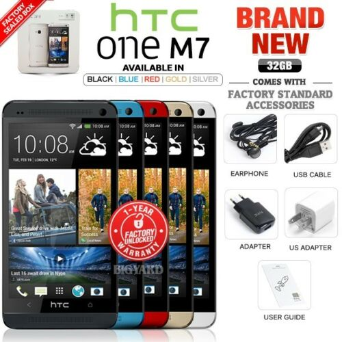 Htc One - New Factory Unlocked HTC One M7 Black Blue Red Gold Silver 32GB Android Phone