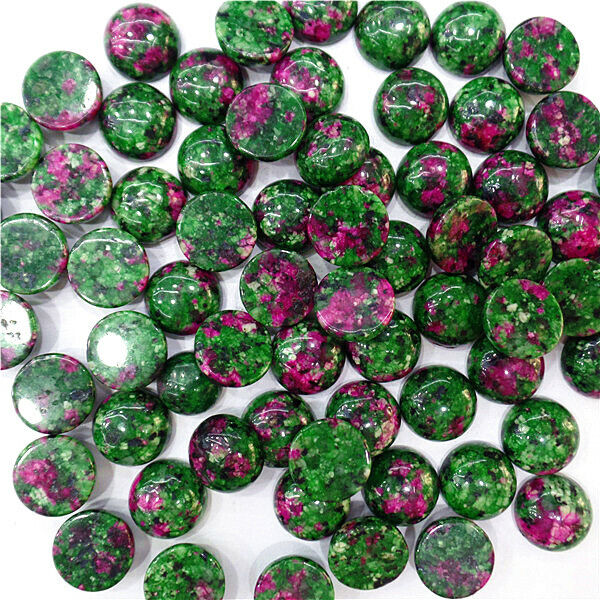 100Pcs 12mm Wholesale Rose&Green Ruby in Fuchsite Round Cab Cabochon DIY HH7068