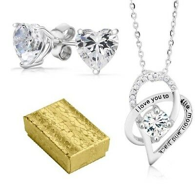 Valentines 18kt White Gold Plated Heart Necklace And Heart Stud Jewelry Set