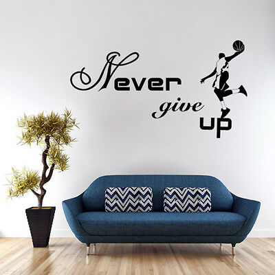 - Michael Jordan Never Give Up Basketball Wall Sticker Sport Boy Room Decal Decor