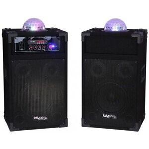 IBIZA SOUND SYSTEM 700W Speakers, Amp & LED Light Karaoke DJ Disco DP235