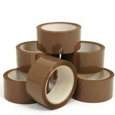 12x 48mm x 66m Brown Packaging Parcel Postal Tape Rolls