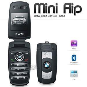 New Unlocked BMW Mini Flip Compact Car Key Fob GSM Bluetooth Black Mobile Phone
