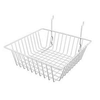 6 Pcs - 12 X 12 X 4 Baskets For Gridwallslatwallpegboard - White