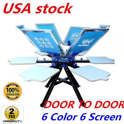 6 Color Silk Screen Printing Press Double Rotary Silk Screen Printing Equipment
