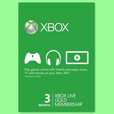 XBOX ONE 360 LIVE GOLD CARD Karte Code 3 MONATE Month NEU PER EMAIL online kaufen