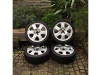 "4x100 16"" alloys wheels 4 good kumho ecsta spt tyres, mini, clio, corsa, laguna, mg"