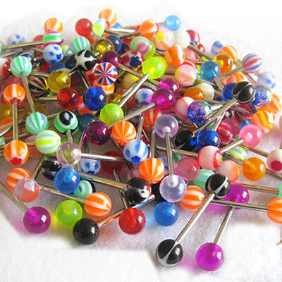 100 x Wholesale Lot 14g Tongue Nipple Lip Barbell Rings Body Piercing Jewelry US