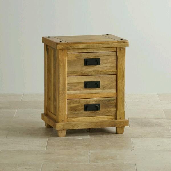 Bedside Drawer Table Oak Furniture Land Baku Solid Mango In