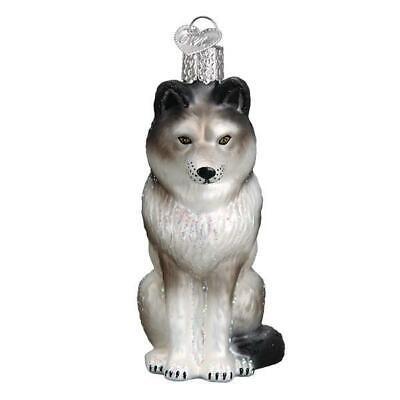 SITTING WOLF OLD WORLD CHRISTMAS GLASS ANIMAL WILDLIFE ORNAMENT NWT 12545](Animal Ornaments)