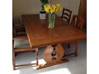 Refectory Table Medium oak with 4 chairs............REDUCED.........