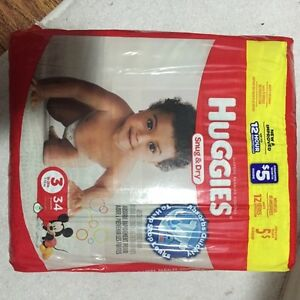 34 size 3 huggies diapers unopened