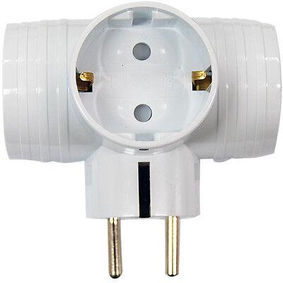 Korea 3 Way T-Bone Multi Tap Plug Converter Outlet Power Adaptor Wall Socket