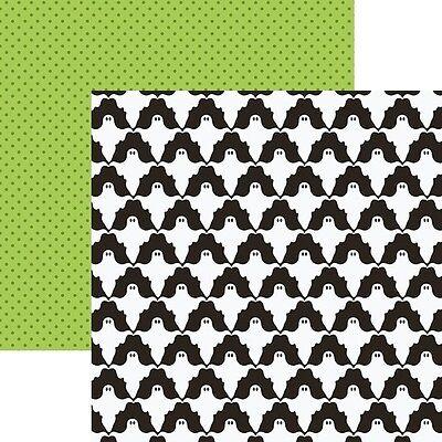 White Paper Halloween Crafts (Scrapbooking Crafts 12X12 Paper DS Halloween White  Ghosts Repeats Green Dots)