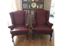 Reduced - Wing back fireside chairs shabby chic upcycle