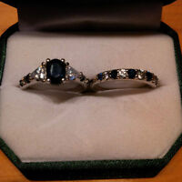 NEW 14KT CUSTOM WHITE GOLD SAPPHIRE SET