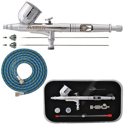G233 Pro Set Master Gravity Airbrush Kit 3 Fluid Tips Air Hose, Hobby Auto Art