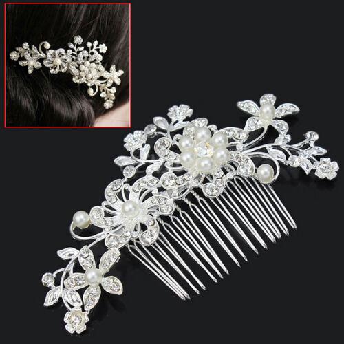 Silver-Bridal-Wedding-Flower-Pearls-Hair-Comb-Clip-Diamante-Crystal-Rhinestone