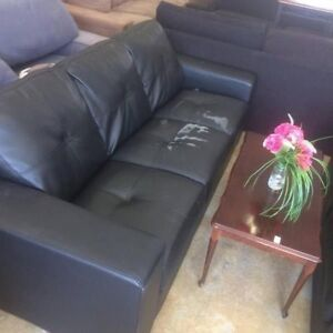 BARGAIN!! 3-SEATER BLACK LEATHER SOFA JUST $49!! Bentley Canning Area Preview